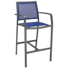 South Beach Collection Aluminum Outdoor Barstool with Arms and Textile Back - Blue