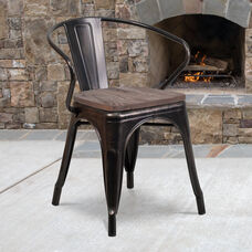 Black-Antique Gold Metal Chair with Wood Seat and Arms