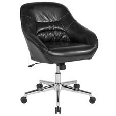 Marseille Home and Office Upholstered Mid-Back Chair in Black LeatherSoft