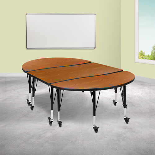 """3 Piece Mobile 76"""" Oval Wave Collaborative Oak Thermal Laminate Activity Table Set - Height Adjustable Short Legs"""