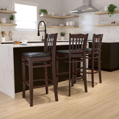 Walnut Finished Vertical Slat Back Wooden Restaurant Barstool with Black Vinyl Seat