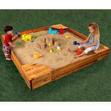 Classic Square Kids Backyard Sandbox with Four Corner Seats - Natural