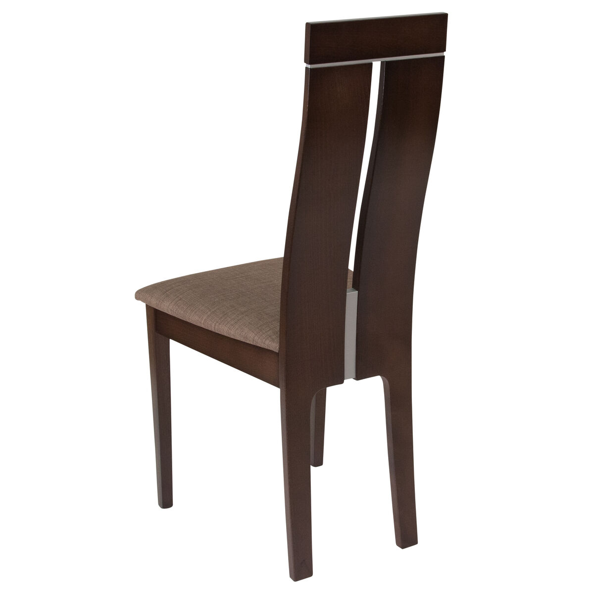 Our avalon espresso finish wood dining chair with clean lines and golden honey brown fabric seat