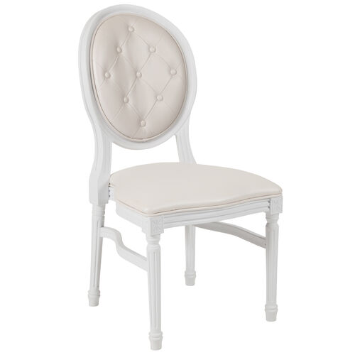 Our HERCULES Series 900 lb. Capacity King Louis Chair with Tufted Back, White Vinyl Seat and White Frame is on sale now.