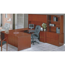 OSP Furniture Sonoma Collection U-Shaped Desk with Hutch and Storage Unit - Cherry