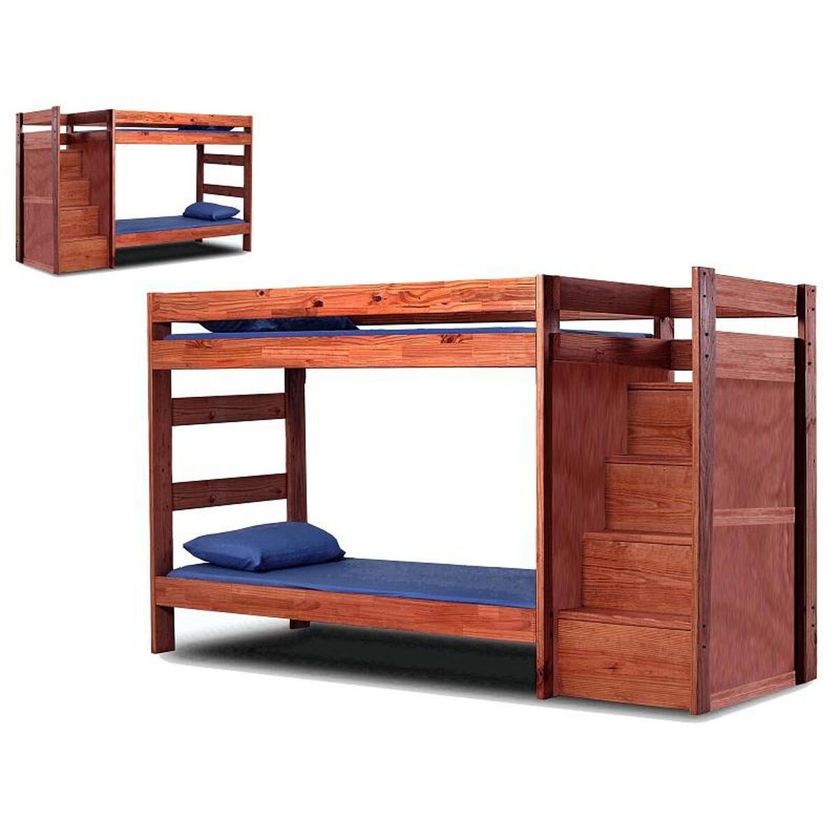Chelsea Home Furniture Rustic Style Solid Pine Staircase Bunk Bed Twin Over Twin Mahogany