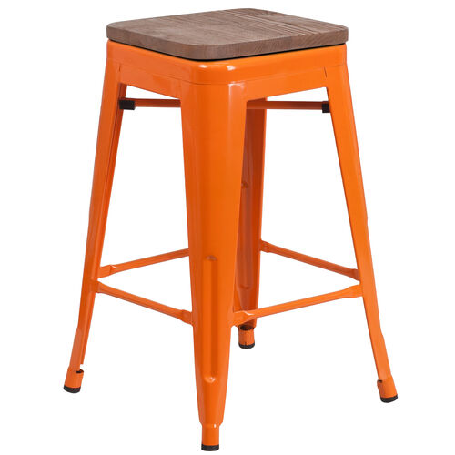 "Our 24"" High Backless Orange Metal Counter Height Stool with Square Wood Seat is on sale now."