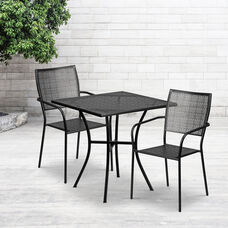 """Commercial Grade 28"""" Square Black Indoor-Outdoor Steel Patio Table Set with 2 Square Back Chairs"""