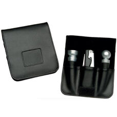 Wine Accessory Valet with Corkscrew and Wine Stoppers - Genuine Leather - Black