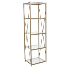 Mar Vista Collection Glass Storage Shelf with Matte Gold Frame