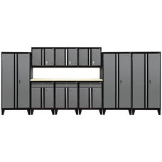 Modular Storage System with Legs - 10 Piece Set - Black and Charcoal