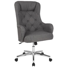 Chambord Home and Office Upholstered High Back Chair in Dark Gray Fabric