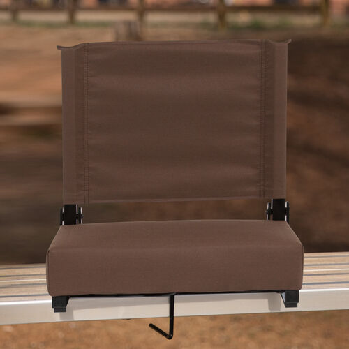 Grandstand Comfort Seats by Flash - 500 lb. Rated Lightweight Stadium Chair with Handle & Ultra-Padded Seat, Brown