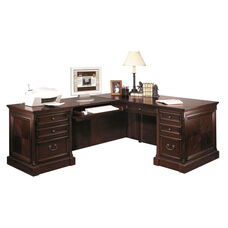 kathy ireland Home™ Mount View Collection L Shaped Workstation with Left Return - Cobblestone Cherry