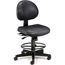 24 Hour Anti-Microbial and Anti-Bacterial Vinyl Task Chair with Drafting Kit - Black