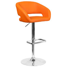 Contemporary Orange Vinyl Adjustable Height Barstool with Rounded Mid-Back and Chrome Base