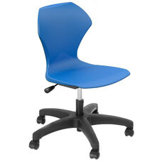 Apex Series Plastic Height Adjustable Task Chair with 5 Star Base - Blue Seat - 25''W x 25''D x 36''H - 40''H