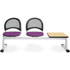 Moon 3-Beam Seating with 2 Plum Fabric Seats and 1 Table - Oak Finish