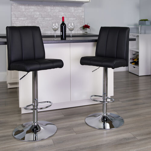 Our Contemporary Vinyl Adjustable Height Barstool with Vertical Stitch Panel Back and Chrome Base is on sale now.