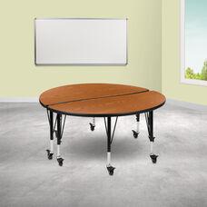 "2 Piece Mobile 47.5"" Circle Wave Collaborative Oak Thermal Laminate Kids Adjustable Activity Table Set"