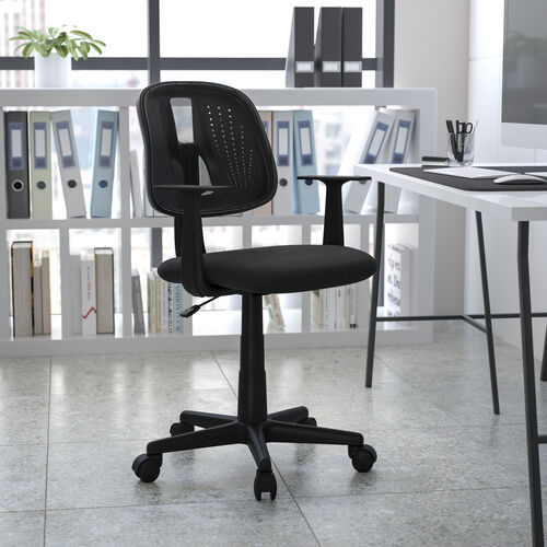 Mid-Back Black Mesh Swivel Task Office Chair with Pivot Back, BIFMA Certified
