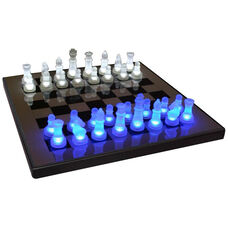 LED Glow Chess Set in Blue and White