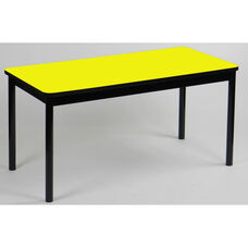 High Pressure Laminate Rectangular Library Table with Black Base and T-Mold - Yellow Top - 24