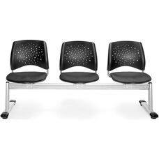 Stars 3-Beam Seating with 3 Fabric Seats - Slate Gray