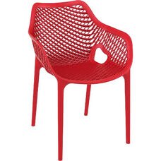 Air XL Modern Resin Outdoor Dining Arm Chair - Red