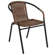 Dark Brown Rattan Indoor-Outdoor Restaurant Stack Chair