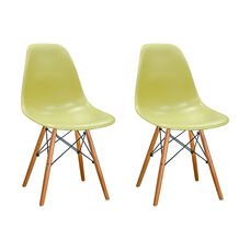 Paris Tower Side Chair with Wood Legs and Green Seat - Set of 2