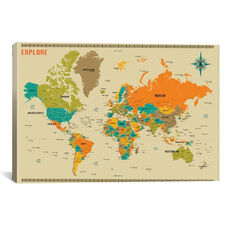 New World Map by Jazzberry Blue Gallery Wrapped Canvas Artwork