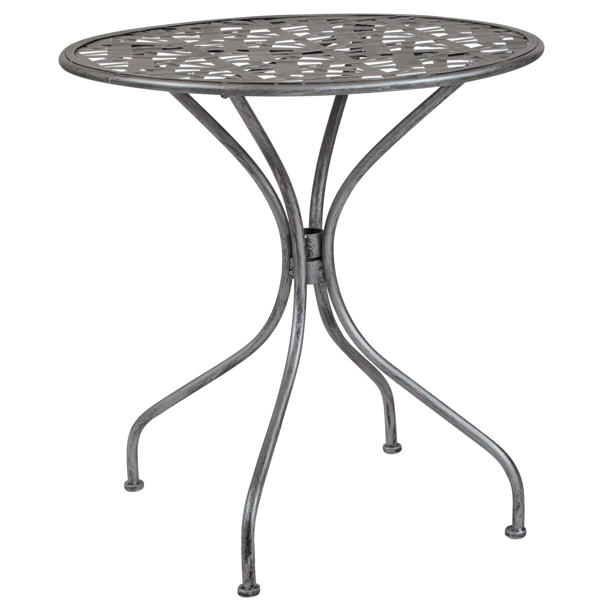 Silver Patio Furniture.Agostina Series 27 5 Round Antique Silver Indoor Outdoor Steel Patio Table