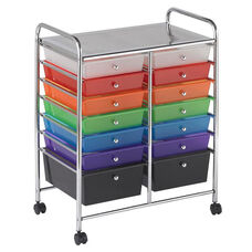 14 Drawer Mobile Organizer with Chrome-Plated Top Shelf and Assorted Colors Pullout Drawers