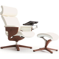Nuvem Leather Office Chair with Footrest and Built in Laptop Holder - White with Teak Finish Frame