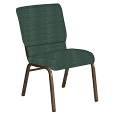 Embroidered 18.5''W Church Chair in Arches Forest Fabric - Gold Vein Frame
