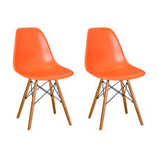 Paris Tower Side Chair with Wood Legs and Orange Seat - Set of 2