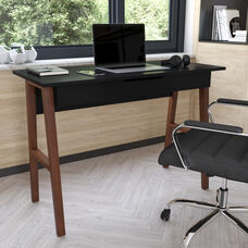 Home Office Writing Computer Desk with Drawer - Table Desk for Writing and Work, Black/Walnut