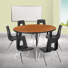"""47.5"""" Circle Wave Collaborative Laminate Activity Table Set with 18"""" Student Stack Chairs, Oak/Black"""