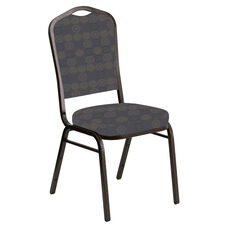 Embroidered Crown Back Banquet Chair in Galaxy Steel Fabric - Gold Vein Frame