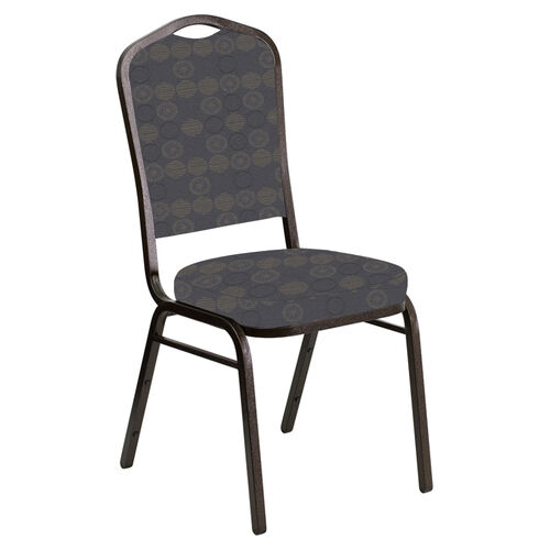 Our Embroidered Crown Back Banquet Chair in Galaxy Steel Fabric - Gold Vein Frame is on sale now.