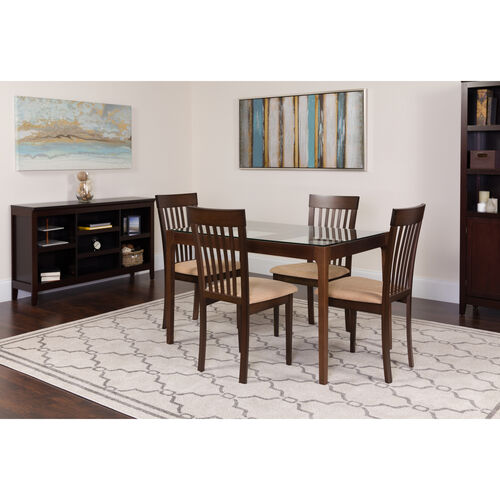 Our Clayton 5 Piece Espresso Wood Dining Table Set with Glass Top and Rail Back Wood Dining Chairs - Padded Seats is on sale now.