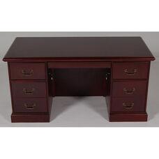 30 x 60 Wood Veneer Double Ped Desk in Mahogany Finish