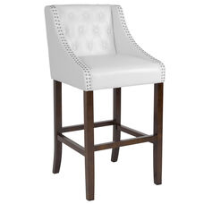 """Carmel Series 30"""" High Transitional Tufted Walnut Barstool with Accent Nail Trim in White LeatherSoft"""