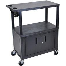 Molded Thermoplastic Resin 3 Shelf Presentation Cart with Locking Cabinet - Black - 32