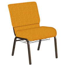21''W Church Chair in Lancaster Nugget Fabric with Book Rack - Gold Vein Frame