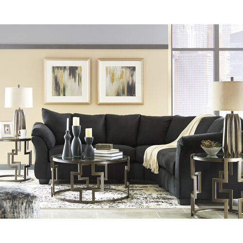 Our Signature Design by Ashley Darcy Sectional in Black Microfiber is on sale now.