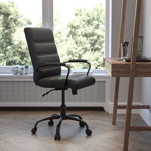 Mid-Back Black LeatherSoft Executive Swivel Office Chair with Black Frame and Arms