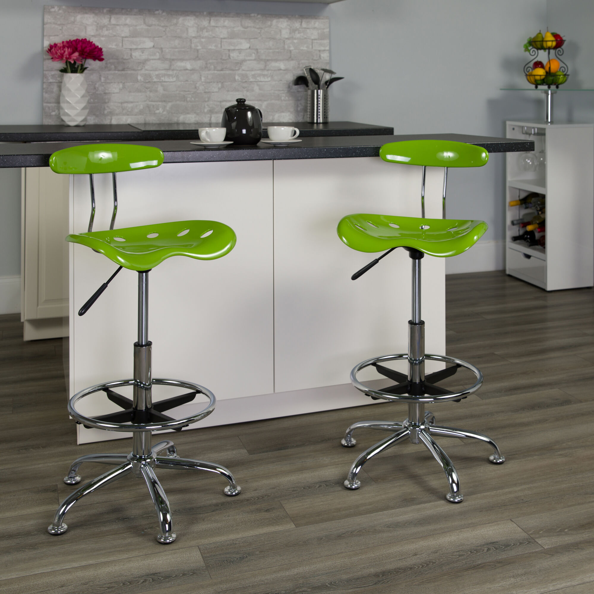 Flash Furniture Chrome Low Back Computer Task Chair With Tractor Seat Vibrant