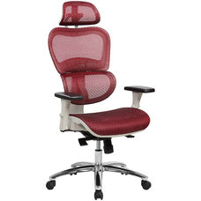 Techni Mobili Deluxe High Back Mesh Office Executive Chair with Neck Support - Red